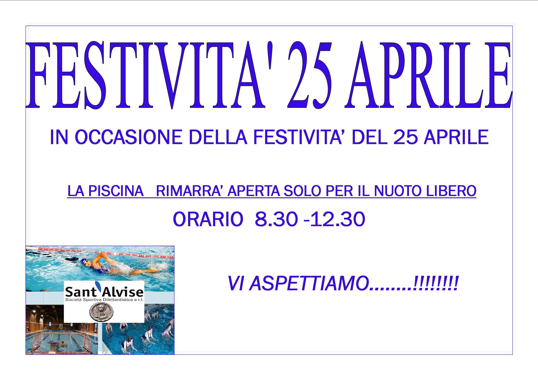 Festivita Del 25 Aprile 2018 Piscina Sant 39 Alvise